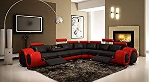 amazon com vig furniture 4087 red and black leather sectional