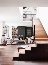 contemporary residence living room wood stairs stairs