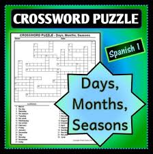 spanish 1 crossword puzzle for months seasons and days of the week