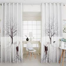 modern curtains light gray tree and deer print poly cotton curtain