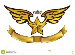 logo ribbon vector golden tattoo or logo with wings crown and ribbon