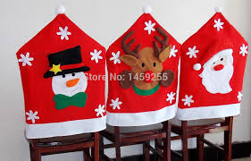 christmas chair back covers wholesale hot sale santa claus now deer hat chair back