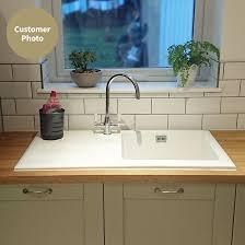 RAK  Gourmet  Bowl White Ceramic Kitchen Sink  Waste Kit - Gourmet kitchen sinks
