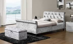 Velvet Sleigh Bed St Sleigh Bed In Silver Crushed Velvet Or King Size