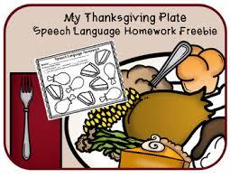 thanksgiving dinner speech language homework freebie by