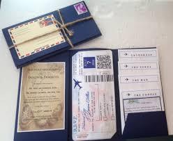 rose gold watercolor passport destination wedding invitation by
