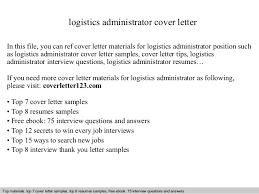 Sample Logistics Resume by Logistics Administrator Cover Letter