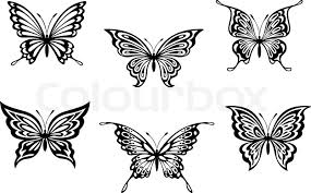 butterfly tattoos stock vector colourbox