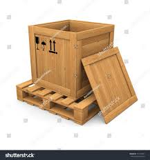 open wooden box without lid on stock illustration 114119641