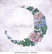 beautiful crescent moon peony stock vector 576101077