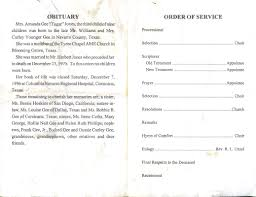 Funeral Ceremony Program Obituaries Page 90211
