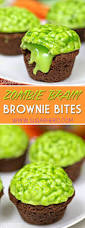 zombie brain brownie bites are bite sized brownies topped with a