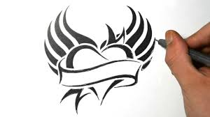 how to draw a heart with wings tribal tattoo design youtube