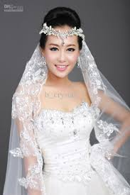 bridal veil new 1t ivory ribbon lace bridal veil rhinestone frontlet comb