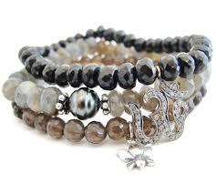 quartz diamond bracelet images Diamond om bracelet labradorite pearl smokey quartz lotus jpg