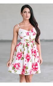 sun dress pink and white floral print dress summer sundress boutique
