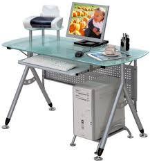 Metal Computer Desks Glass And Metal Computer Desk Rolling Silver Colored Walmart Com 1