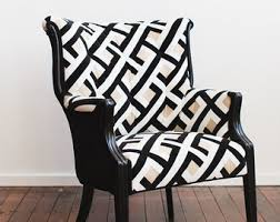 Black And White Accent Chair Channel Back Chair Etsy