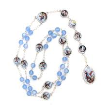 chaplet of the holy chaplet rosary holy oxidized silver enameled blue