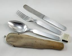 vintage german d r g m military knife fork and spoon set in