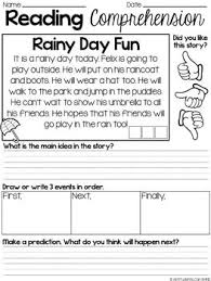 reading comprehension passages main idea sequencing and