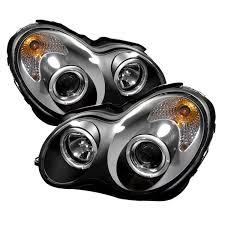 mercedes led headlights amazon com spyder auto mercedes benz w203 c class black halogen