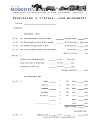 Hvac Residential Load Calculation Worksheet by Printable Electrical Load Worksheets Fill Printable