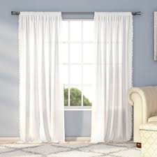 White Curtains With Pom Poms Decorating Curtains With Pom Poms Wayfair