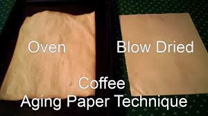 two techniques for aging paper with coffee more paper aging