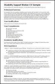 Resume Core Qualifications Examples by Disability Support Worker Cv Sample Myperfectcv