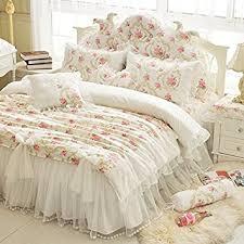 amazon com lelva girls bedding set lace ruffle duvet cover