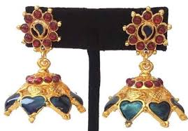 kerala style earrings enamel jhumkis palak kerala style errings kalanjali collections