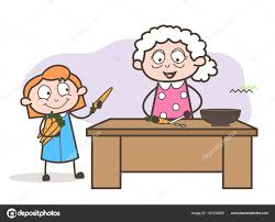 dessin recette de cuisine enseignement de mère vieux dessin animé illustration vectorielle de