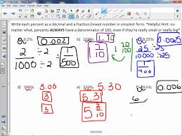 Fractions Decimals And Percents Worksheets 6th Grade 6th Grade 2 4 Percents Greater Than 100 And Less Than 1 Youtube