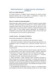 Sample Resume For Market Research Analyst Marketing Research In Depth Interview Advantages U0026 Limitations