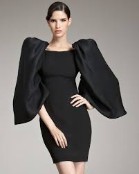 Black Cocktail Dresses With Sleeves Marchesa Voluminous Sleeve Cocktail Dress In Black Lyst