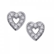 heart stud earrings white gold diamond heart stud earrings