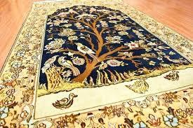 oriental design tree of life blue silk rug birds carpet oriental design accent add
