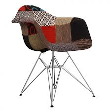 ray eames style fabric dar arm chair chrome legs patchwork
