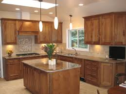 brown glaze teak wood kitchen cabinet combined with center island