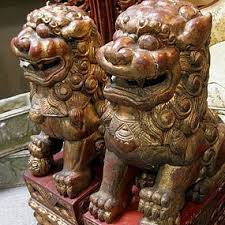 foo dogs statues pair wood fu lions foo dogs statue 19th c