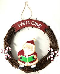 christmas wreath wicker santa design hanging decor door wall