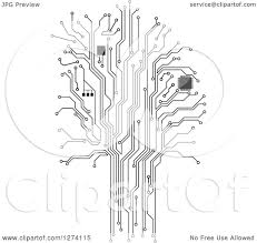 clipart of a grayscale computer chip and circuit tree royalty
