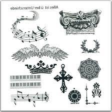 Musical Note Ornaments Swallows Wings Flash Tattoos Note Ornaments Harajuku Tatoo