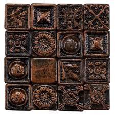 kitchen backsplash medallion merola tile baroque square copper 1 in x 1 in metallic resin