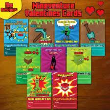 minecraft s day cards mineventure valentines cards 9x instant by digicreationsstudio
