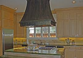 kitchen copper island range hood with lighting with glass