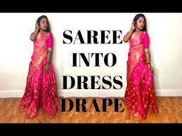 How To Draping How To Drape A Saree Into Dress Style Thuri Makeup Youtube