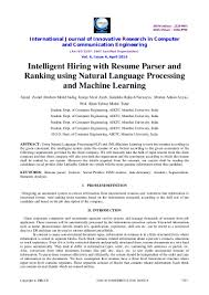 format ng resume intelligent hiring with resume parser and ranking using natural langu