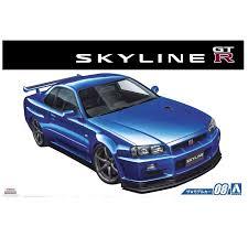 nissan skyline r34 2 fast 2 furious aoshima u2013 1 24 scale nissan skyline r34 gtr plastic model kit